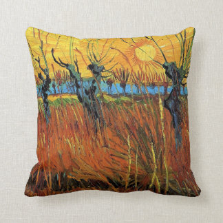 Willows at Sunset by Vincent van Gogh. Throw Pillow