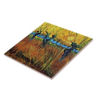 Willows at Sunset (F572) Van Gogh Fine Art Tile