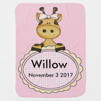 Willow''s Personalized Giraffe Baby Blanket