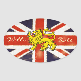Wills and Kate Heraldry  Lion Oval Sticker