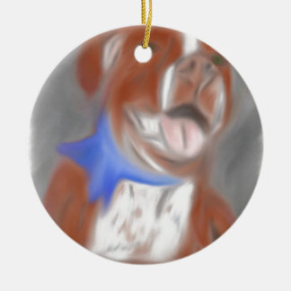 Willy the Pittie Round Ceramic Ornament
