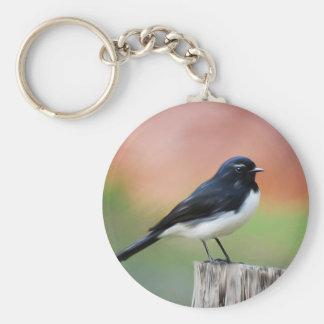 Willy Wagtail - Australian Bird Art Keychain