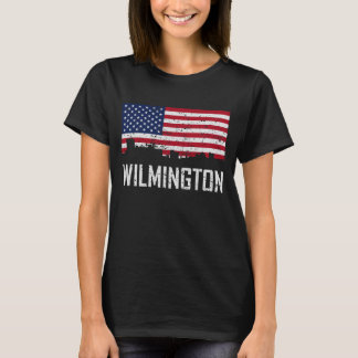 Wilmington North Carolina Skyline American Flag Di T-Shirt