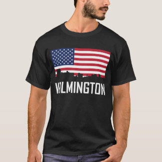 Wilmington North Carolina Skyline American Flag T-Shirt