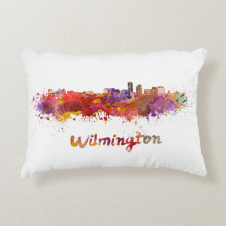 Wilmington skyline in watercolor accent pillow