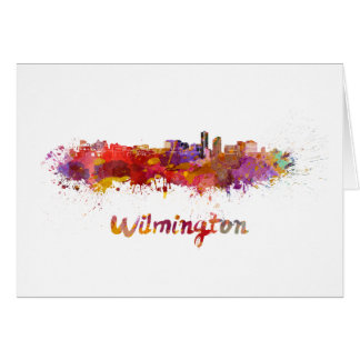 Wilmington skyline in watercolor card