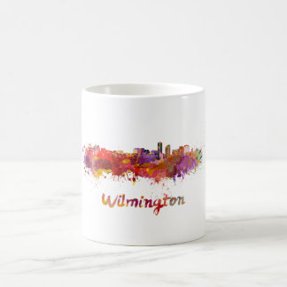 Wilmington skyline in watercolor coffee mug