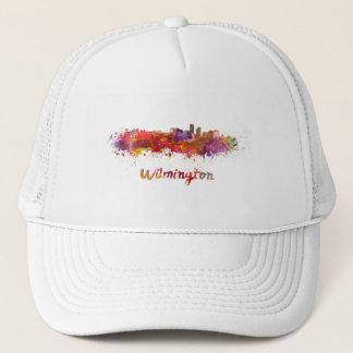 Wilmington skyline in watercolor trucker hat