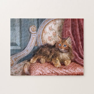 Wilson Hepple: Brown Kitten on an Armchair Jigsaw Puzzle