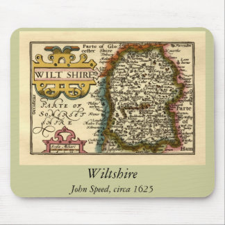 Wiltshire County Map, England Mouse Pad