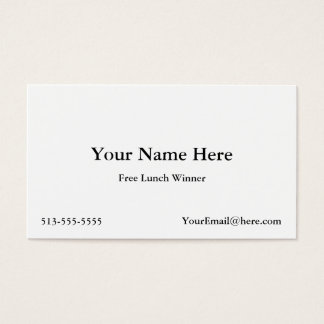 Win a Free Lunch Business Card