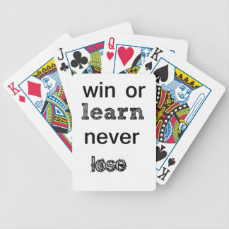 win or learn never lose bicycle playing cards