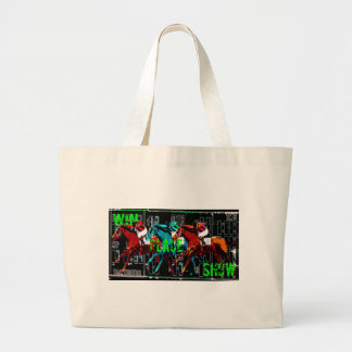win place show horse racing large tote bag