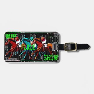 win place show horse racing luggage tag