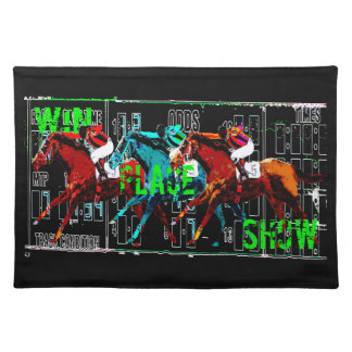 win place show horse racing placemat