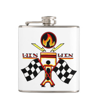 Win Win Men's Piston Checkered Racing Flag Hip Flask