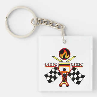 Win Win Men's Piston Checkered Racing Flag Keychain