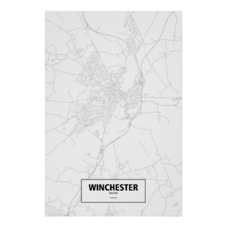 Winchester, England (black on white) Poster