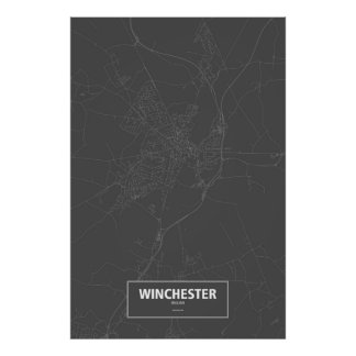 Winchester, England (white on black) Poster