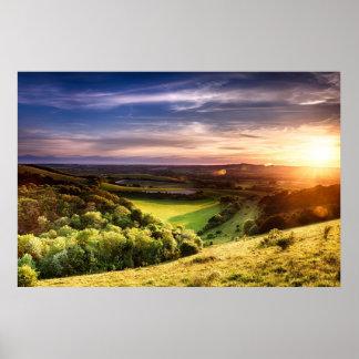 Winchester hill sunset across folding farmland poster