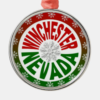 Winchester Nevada red green snowflake ornament