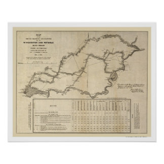 Winchester & Potomac Railroad Map 1832 Poster