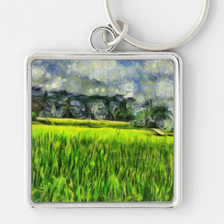 Wind and fields Silver-Colored square keychain