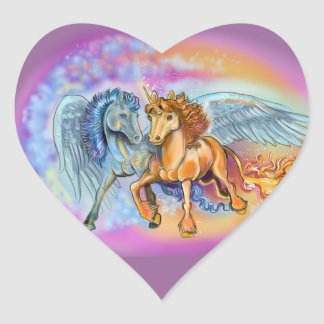 Wind and Flame Unicorn Pegasus~stickers Heart Sticker