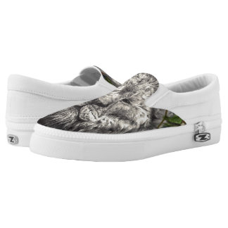 Wind Beneath My Wings Lion Butterfly Original Art Slip-On Sneakers
