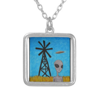 Wind Disk Silver Plated Necklace
