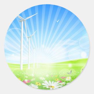 Wind Farm Stickers Round Sticker