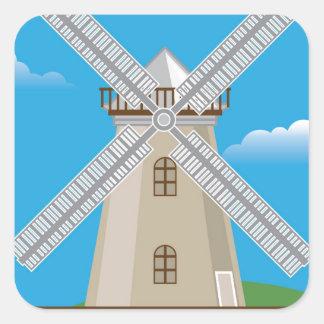 Wind Mill in Color Square Sticker