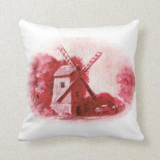 Wind mill, red delft pattern, Folk print Throw Pillow