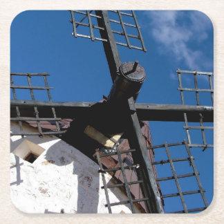 Wind mills in Consuegra, Toledo Square Paper Coaster