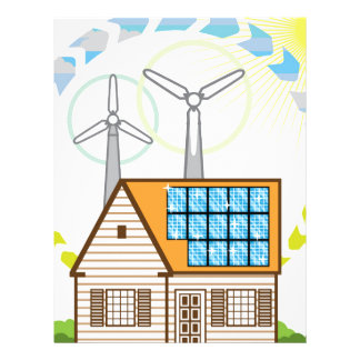 Wind n Solar Small House Vector Eco Energy Personalized Letterhead