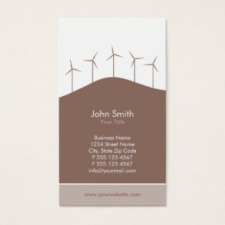 Wind power - brown turbines business card template