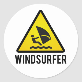 Wind surfer classic round sticker