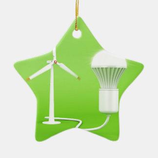 Wind turbine and glowing light bulb ceramic ornament