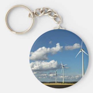 Wind turbines on the roadside basic round button keychain