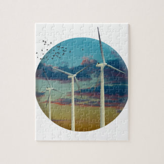 Wind Turbines Painted Sky Jigsaw Puzzle