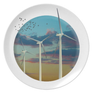 Wind Turbines Painted Sky Plate