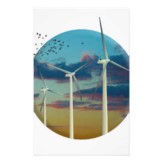 Wind Turbines Painted Sky Stationery