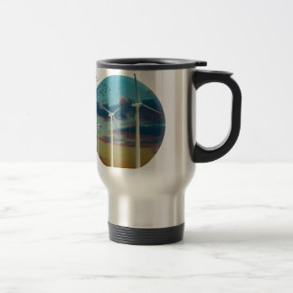 Wind Turbines Painted Sky Travel Mug