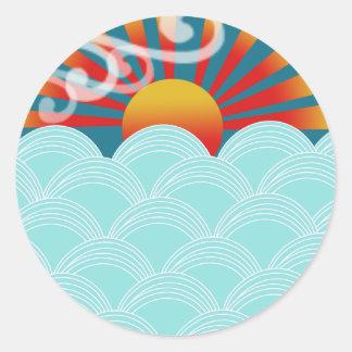 Wind water stickers, award winner design round sticker