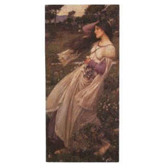 Windflowers-by John William Waterhouse, 1902 Wood USB Flash Drive
