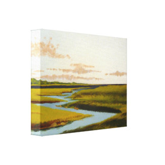 Winding River Marsh Seascape Painting Canvas Print