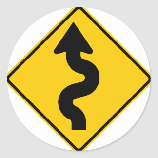 Winding Road Ahead Highway Sign Classic Round Sticker