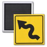 Winding Road Ahead Highway Sign Fridge Magnet