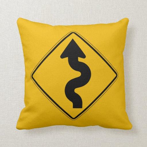 Winding Road, Traffic Warning Sign, USA Pillows