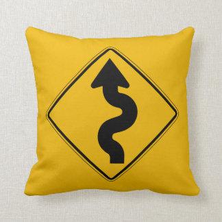 Winding Road Traffic Warning Sign USA Pillows